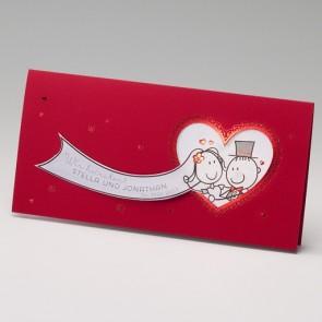 Lustige Hochzeitseinladungskarte in rot