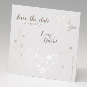 Hochzeit Save the date Karte mit Schmetterlingen und Blumen