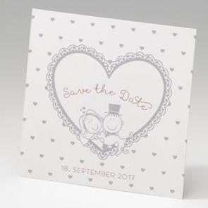 Hochzeit Savethedate-Karte mit Herz und Brautpaar Nr. 725539
