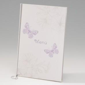 Hochzeitsmenükarte verspielt, Schmetterlingen