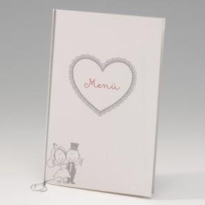 Lustige Hochzeitsmenükarte mit großem Herz - Nr. 725639