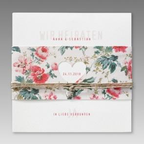 Einladungskarte Hochzeit mit Blumenbanderole inkl. Herzausstanzung