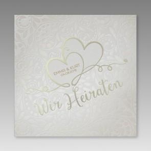Hochwertige Einladungskarte Hochzeit mit verschlungenen Herzen