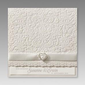 Klassische Einladungskarte zur Hochzeit mit Ornamenten