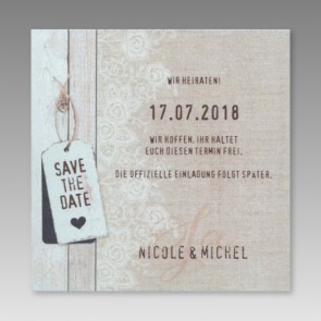 Kreative Save the date Karte
