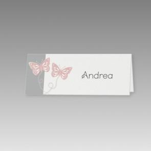 Moderne Tischkarte Hochzeit mit Schmetterlingen
