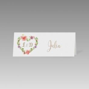 Romantische Hochzeit Tischkarte mit Blumenherz