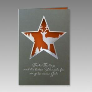 Weihnachtskarte verdelt mit Sternausstanzung