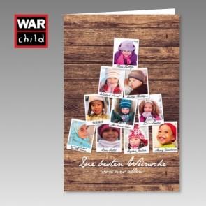 Spenden Weihnachtskarte War Child mit Kindergesichtern
