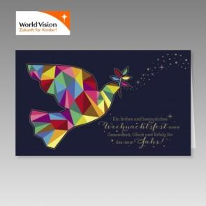 World Vision Spendenweihnachtskarte mit einer Friedenstaube