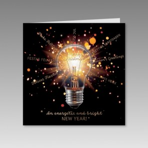 Pfiffige Neujahrskarte mit Glübirne