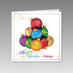 Internationale Neujahrskarte bunt bedruckt