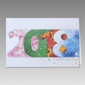 Neujahrskarte modern im Vier Jahreszeiten-Look