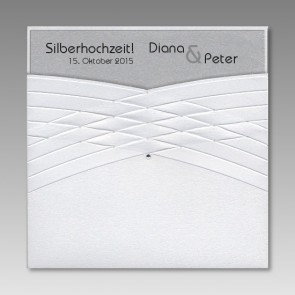 Einladungskarte zur Silberhochzeit mit Strasssteinchen