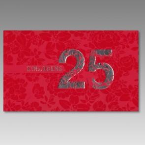 rote Silberhochzeitseinladung, modern