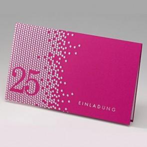 Silberhochzeitseinladung in modernem Pinkdesign
