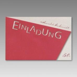 Rote Einladungskarte zum 50. Geburtstag, asymmetrisch
