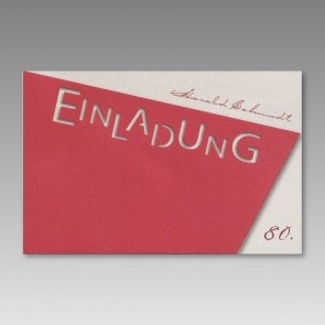 Rote Einladungskarte zum 80. Geburtstag, asymmetrisch
