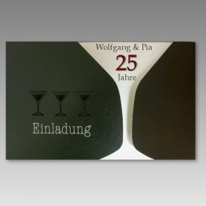 Edle Silberhochzeit Einladungskarte, modern