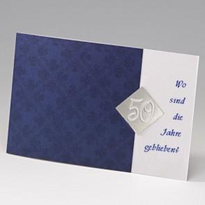 dunkelblaue Einladungskarte zum 50. Geburtstag