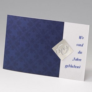 dunkelblaue Einladungskarte zum 60. Geburtstag