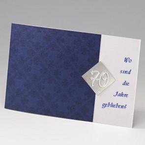 dunkelblaue Einladungskarte zum 70. Geburtstag