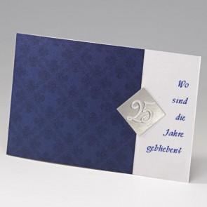 dunkelblaue Einladungskarte zur Silberhochzeit