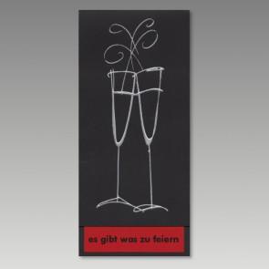 Moderne Einladungskarte in schmaler Form