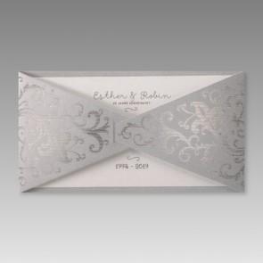 Silberhochzeitseinladungskarte in edlem Design