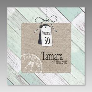 Einladungskarte 50. Geburtstag Vintage im Holz-Look