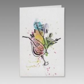 Bunte Menükarte Geburtstag mit Cocktailgläsern