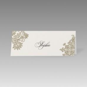 Tischkarte Goldene Hochzeit mit barocken Ornamenten