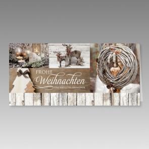 Schöne Weihnachtskarte im Holzdielen Design