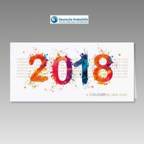 Spenden-Neujahrskarte der Deutschen Krebshilfe, bunt