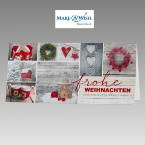 Hübsche Weihnachtskarte mit Spendenanteil Make a Wish
