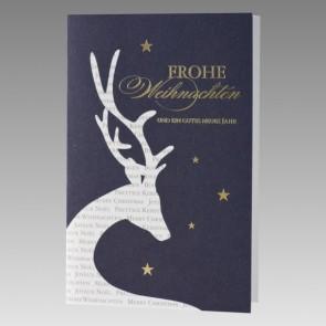 internationale Weihnachtskarte mit besonderem Hirsch