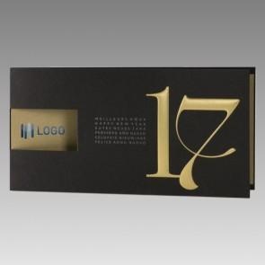 Elegante Neujahrskarte 2017, schwarz-gold
