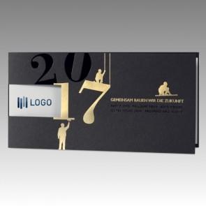 Edle Bau Branchenkarte für Neujahr, Logodruck