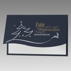 Charmante Weihnachtskarte in Blau mit Hirsch