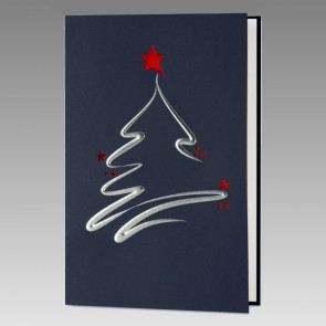 Blaue Weihnachtskarte im neutralen Design