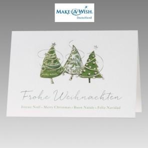 Weihnachtskarte mit Spendensiegel Make a Wish, mehrsprachig