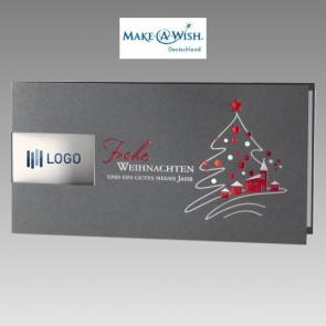 Edle Spenden Weihnachtskarte in Silbermetallic