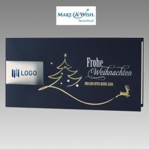 Dunkelblaue Spendenkarte für Make a Wish mit Ausstanzung für Logo