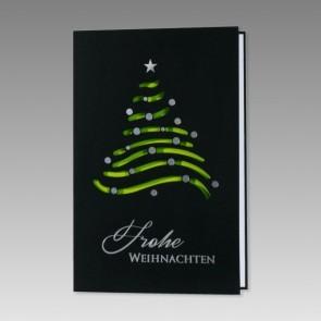 Moderne Weihnachtskarte, schwarz und grün