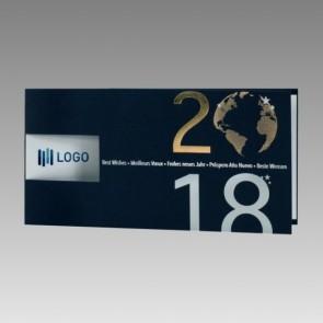 Hochwertige Firmen Neujahrskarte in Blau