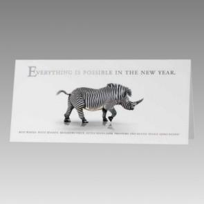Humorvolle Neujahrskarte: Nashorn als Zebra