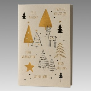 Mehrsprachige Weihnachtskarte aus braunem Kraftkarton
