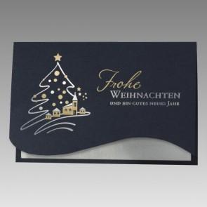 Blaue Weihnachtskarte im charmanten Design