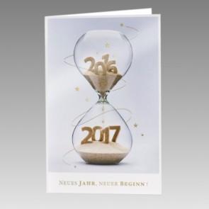 Außergewöhnliche Neujahrskarte mit Sanduhr