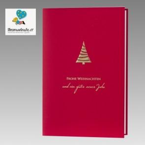 Für Herzenswünsche eV: Schlichte Spendenkarte in elegantem Rot